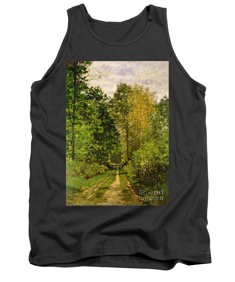 Wooded Path Tank Top featuring the painting Wooded Path by Claude Monet