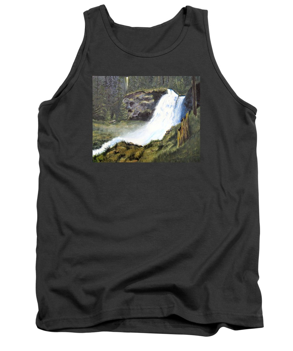 Forest Tank Top featuring the painting Woodland Respite by Karen Stark