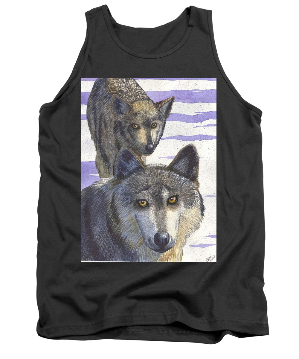 Wolf Tank Top featuring the painting Woofies by Catherine G McElroy