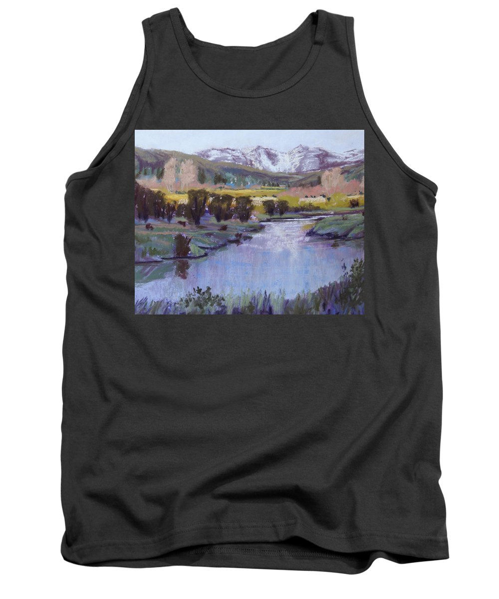 River Tank Top featuring the pastel Wyoming River by Heather Coen