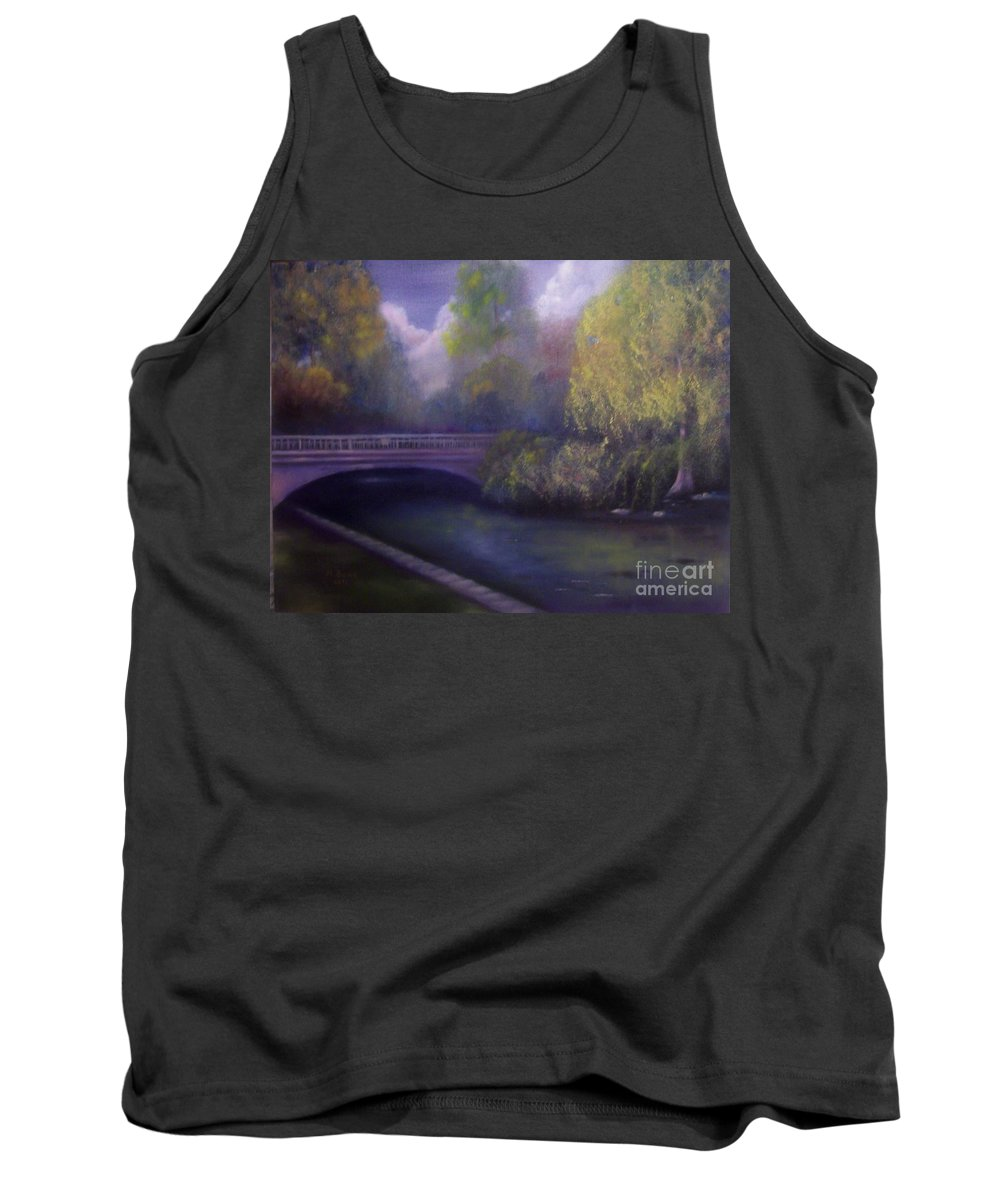 Bridge Tank Top featuring the painting Wyomissing Creek Misty Morning by Marlene Book