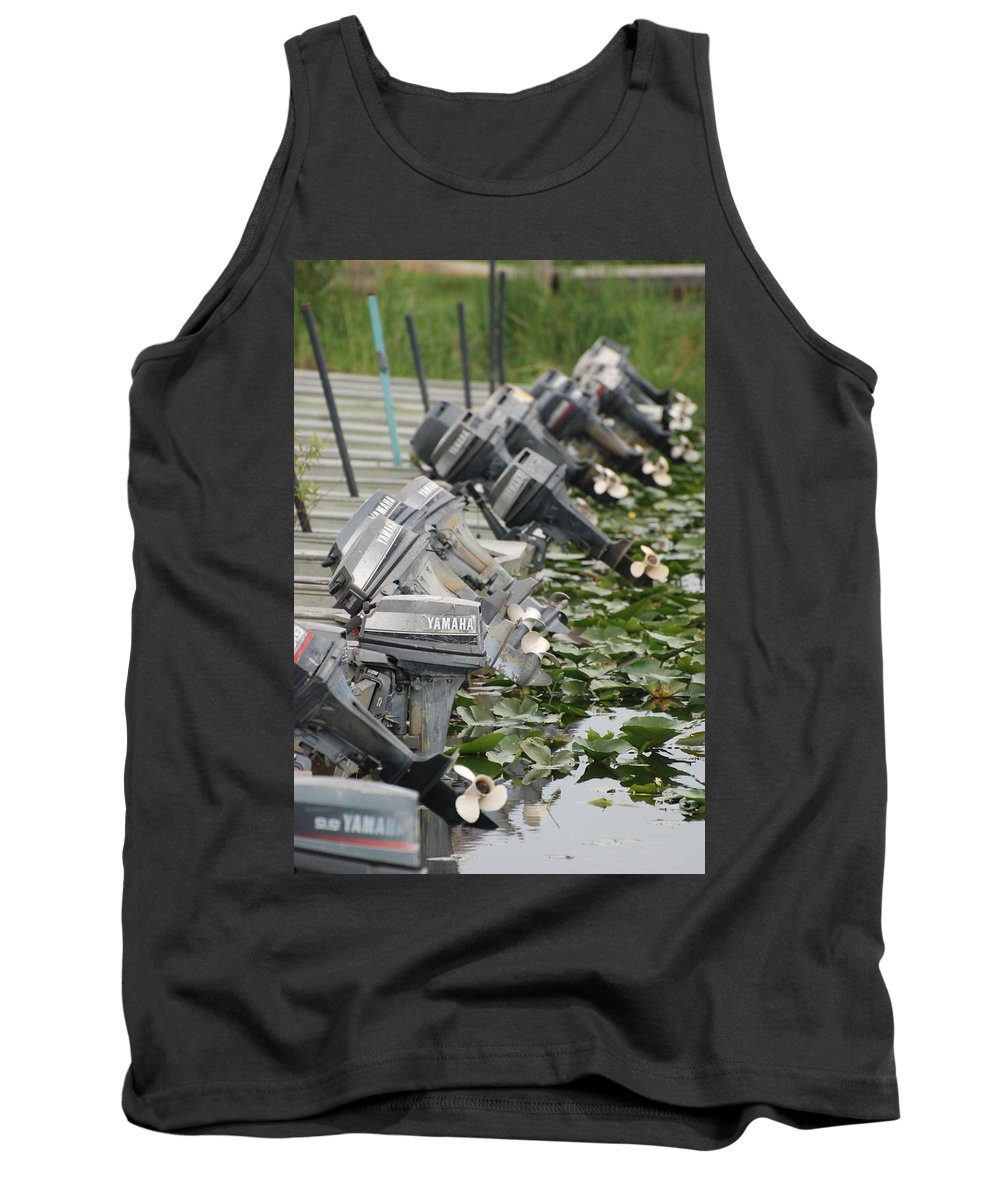 Boats Tank Top featuring the photograph Yamaha Outboards by Rob Hans