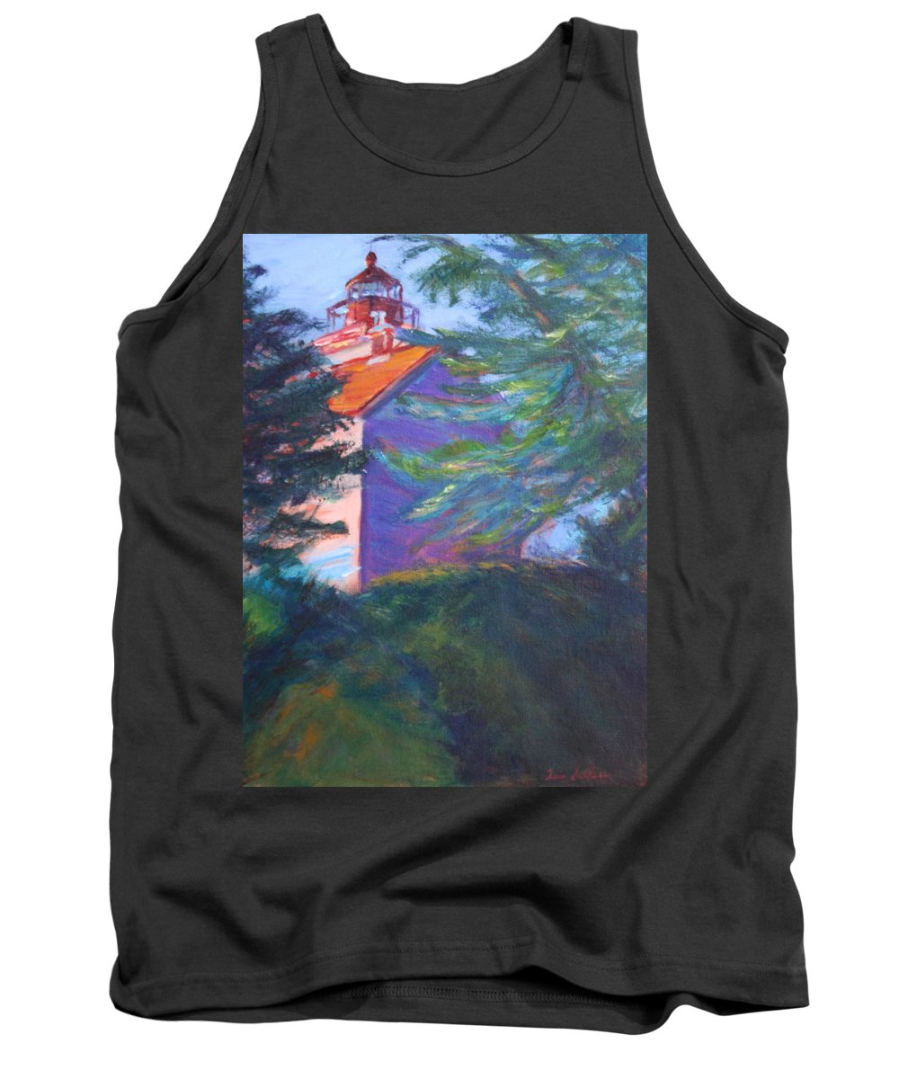 Quin Sweetman Tank Top featuring the painting Yaquina Bay Lighthouse by Quin Sweetman