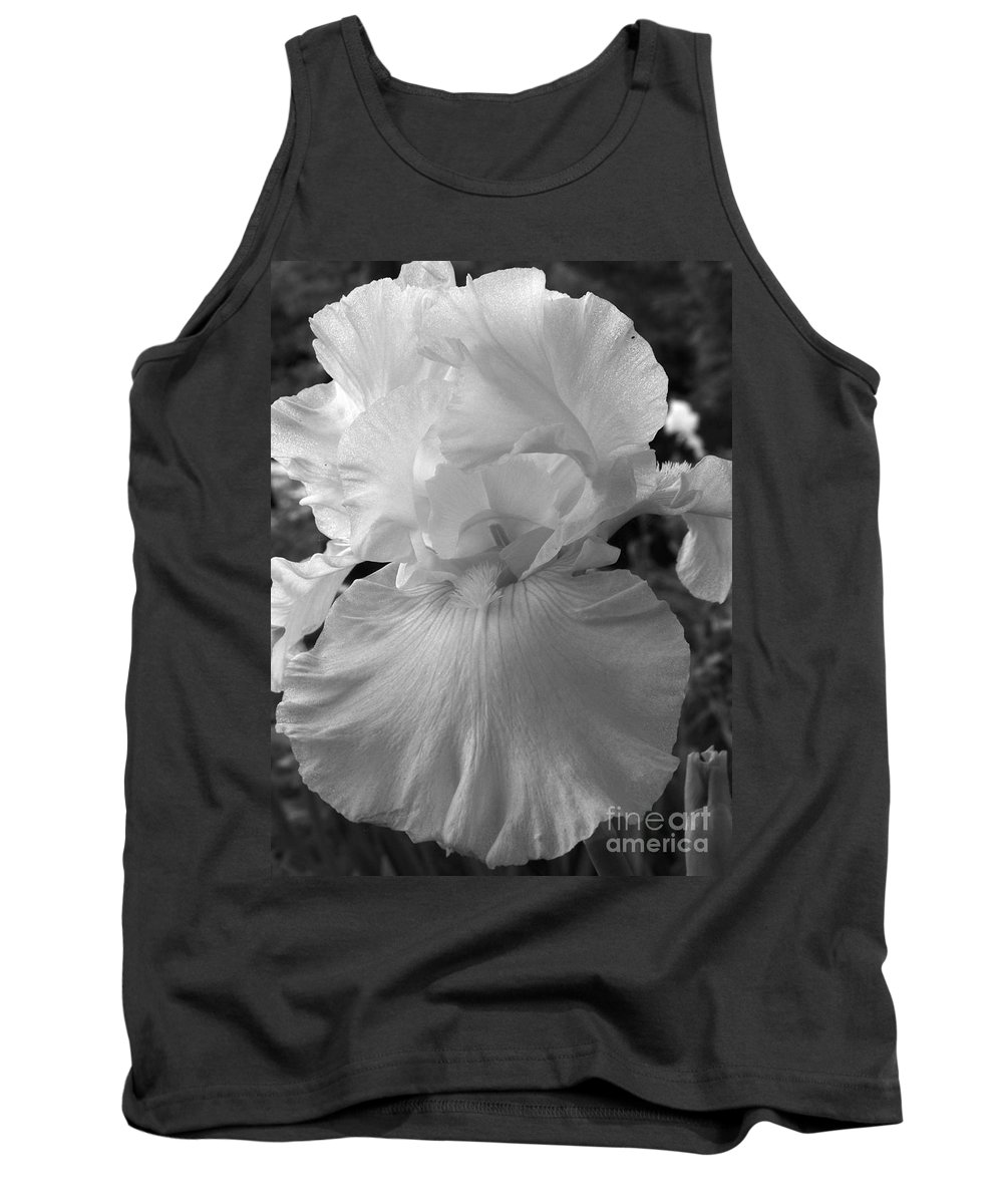Iris Tank Top featuring the photograph Yellow And White Iris In Bw by Kathy McClure