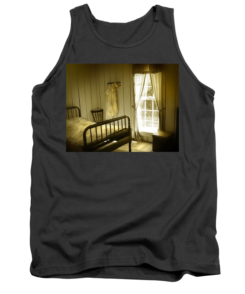 Bedroom Tank Top featuring the photograph Yellow Bedroom Light by Mal Bray