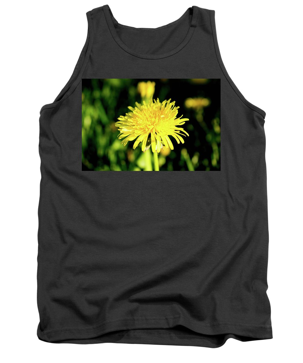 Olga Olay Tank Top featuring the photograph Yellow Dandelion Flower by Olga Olay