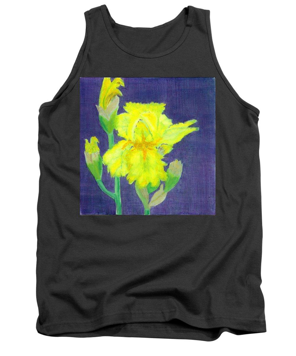 Iris Tank Top featuring the painting Yellow Iris by Paula Emery