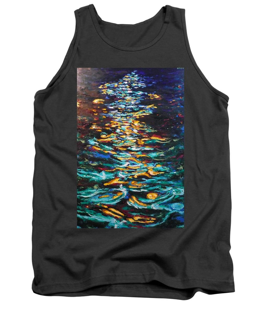 Landscape Tank Top featuring the painting Yellow Light On Dark Water by Ericka Herazo