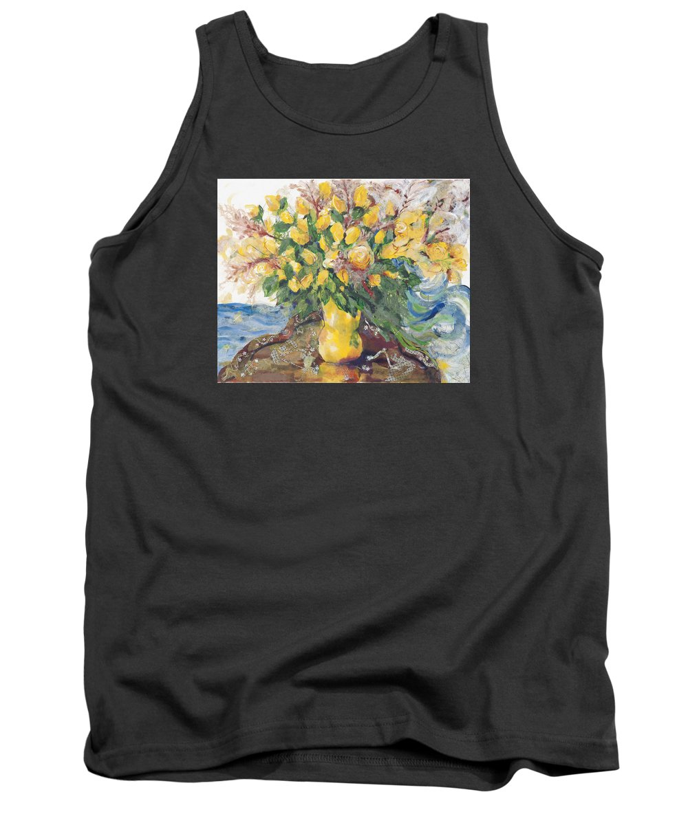 Floral Art Tank Top featuring the painting Yellow Roses by Nira Schwartz