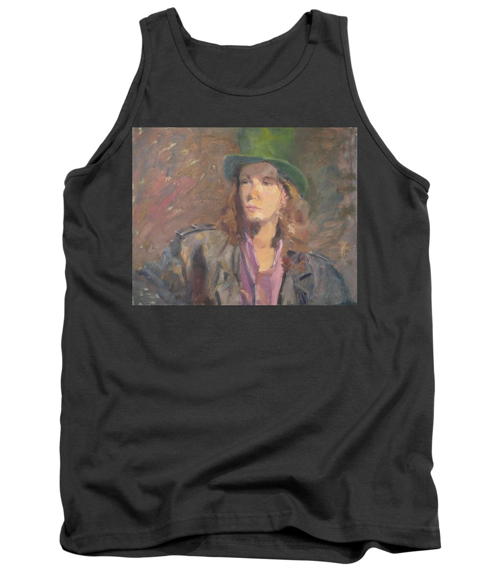 Young Man Irish Green Hat Portrait Figurative Long Hair Coat Tank Top featuring the painting Young Irish Man by Irena Jablonski