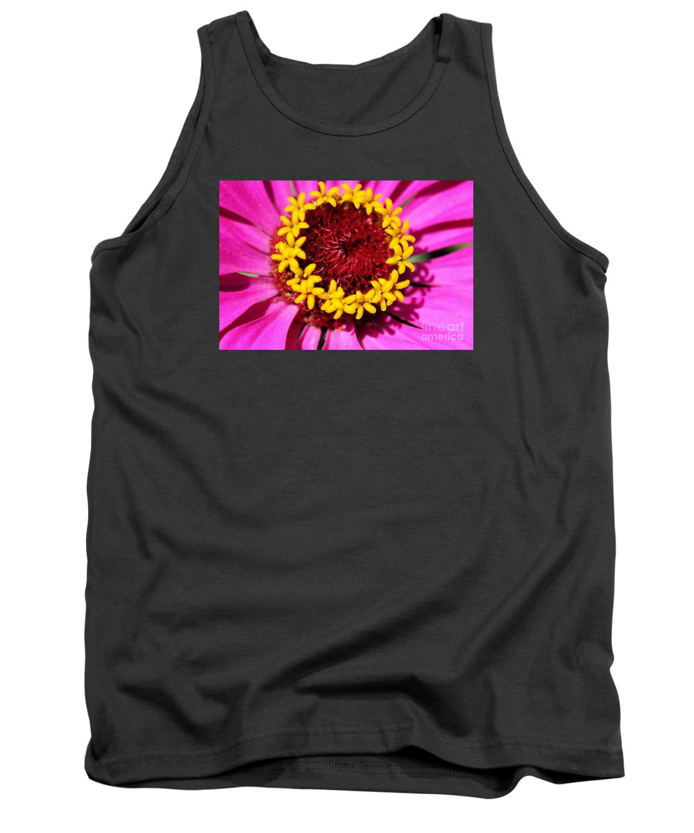 Pink Tank Top featuring the photograph Zinnia Macro by Angela Rath