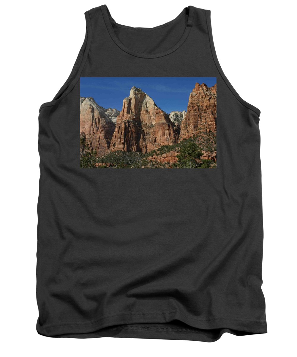 Zion Tank Top featuring the photograph Zion's Patriarchs by Nelson Strong