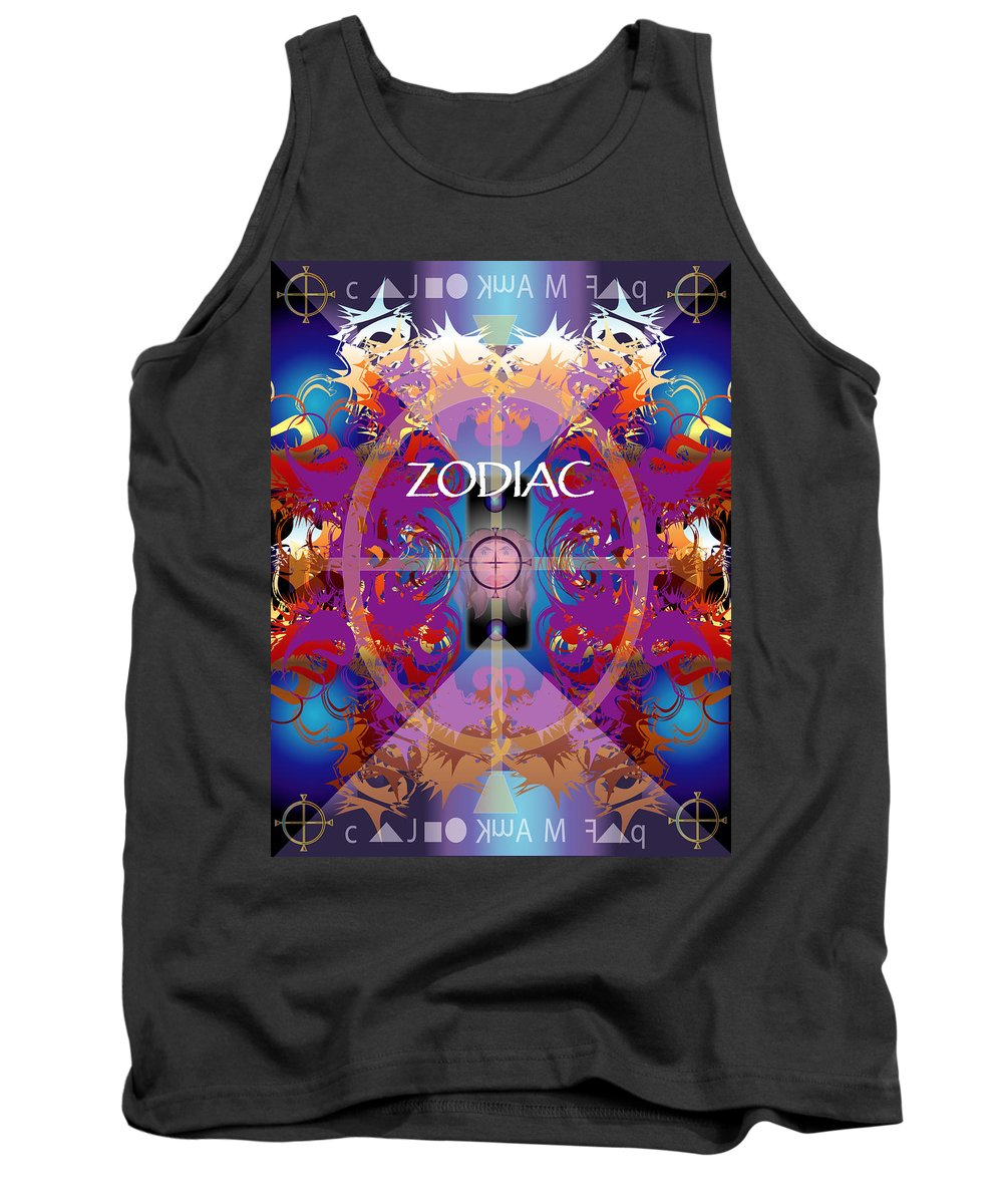 Abstaract Tank Top featuring the digital art Zodiac 2 by George Pasini