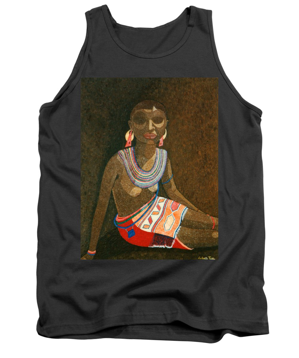 Zulu Woman Tank Top featuring the painting Zulu Woman With Beads by Madalena Lobao-Tello