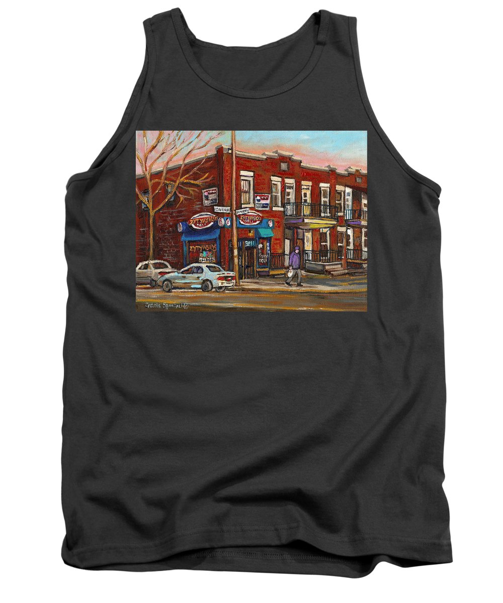 Deli Tank Top featuring the painting Zytynsky's Deli Rosemont Montreal by Carole Spandau