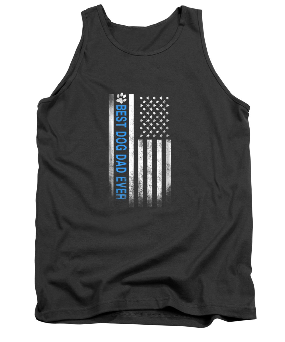 men's Novelty T-shirts Tank Top featuring the digital art Best Dog Dad Ever American Flag T-shirt Gift For Best Father by Do David