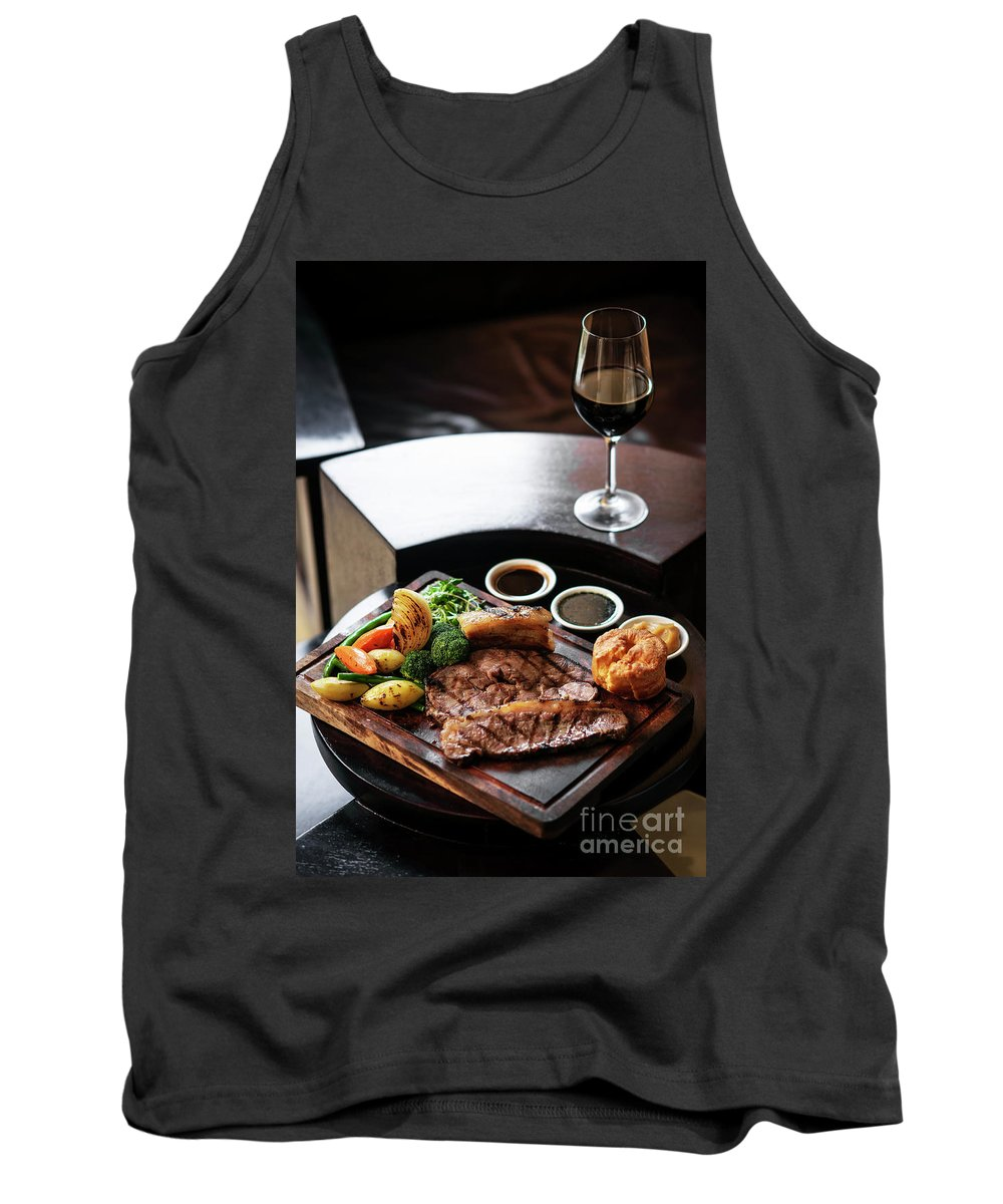 Beef Tank Top featuring the photograph Sunday Roast Beef Traditional British Meal Set On Table by Jacek Malipan