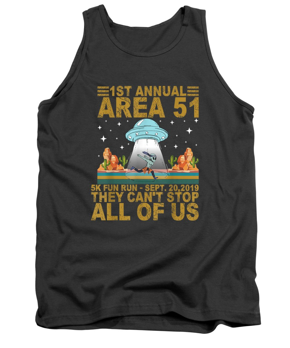 men's Novelty T-shirts Tank Top featuring the digital art 1st Annual Area 51 5k Fun Run Sept 20.2019 They Can't Stop Tshirt by Do David