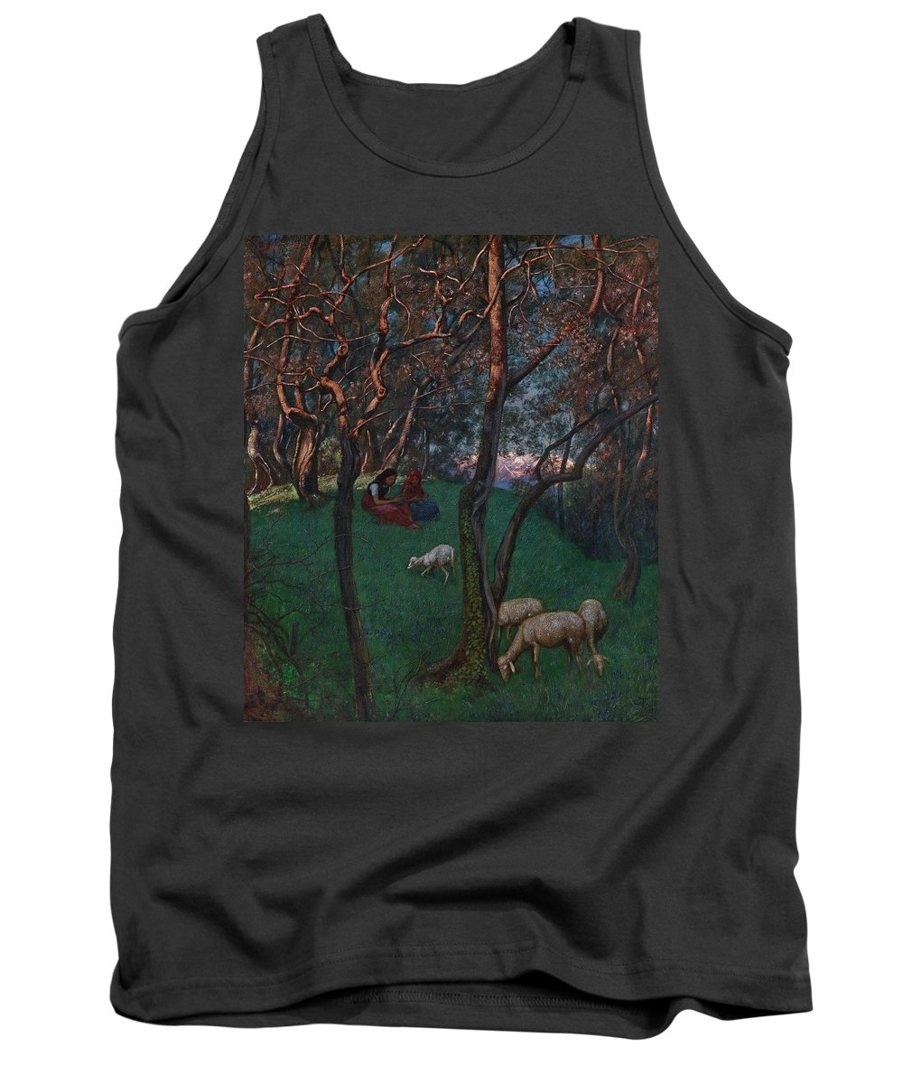 Olive Grove Tank Top featuring the painting Olive Grove At Lake Garda by Hans Thoma
