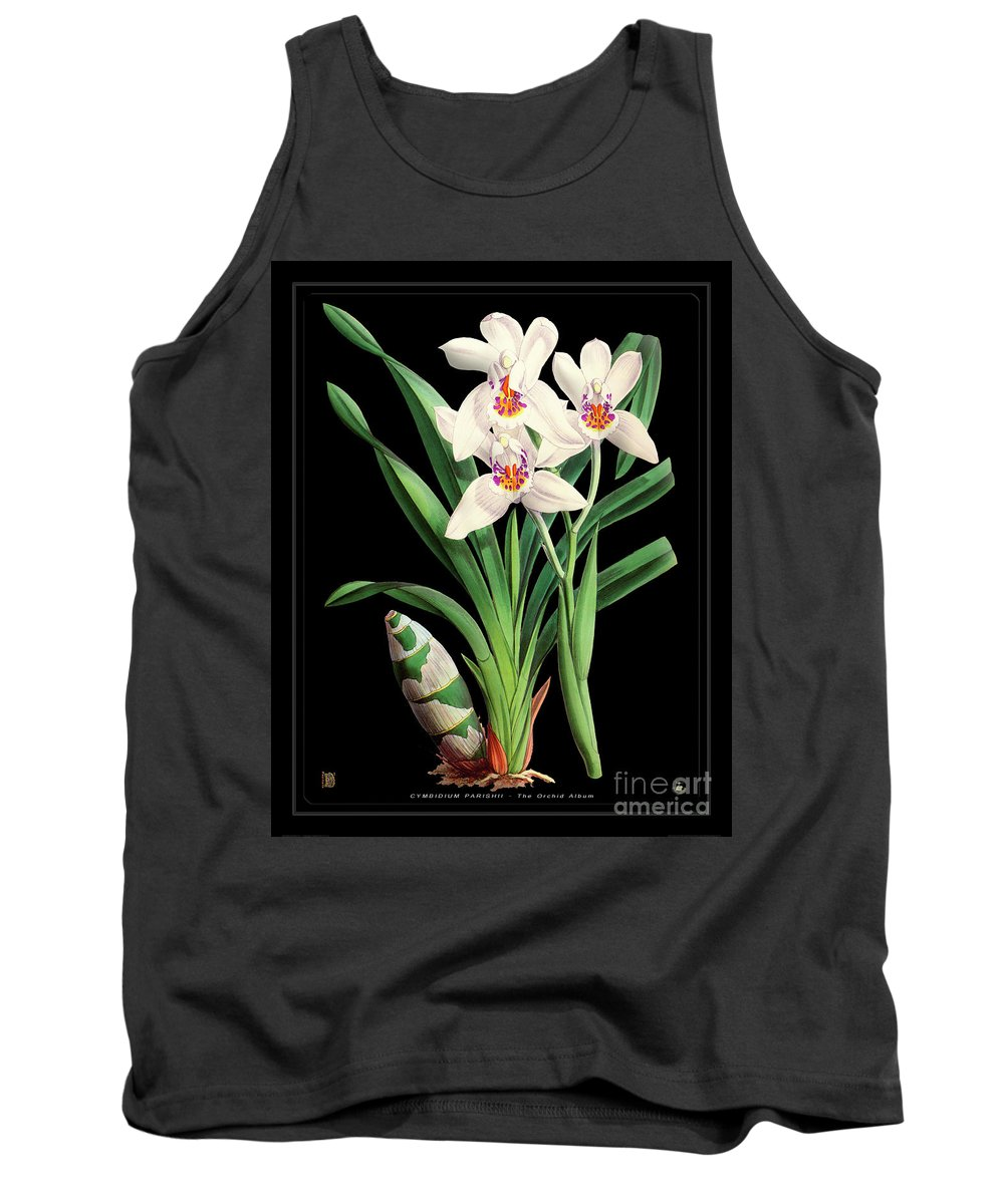 Black Tank Top featuring the drawing Vintage Orchid Print On Black Paperboard by Baptiste Posters