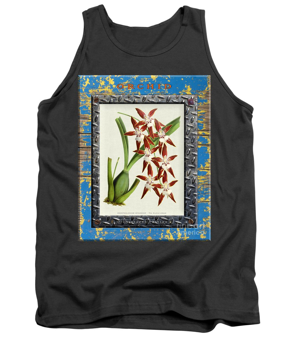 Vintage Tank Top featuring the digital art Orchid Framed On Weathered Plank And Rusty Metal by Baptiste Posters