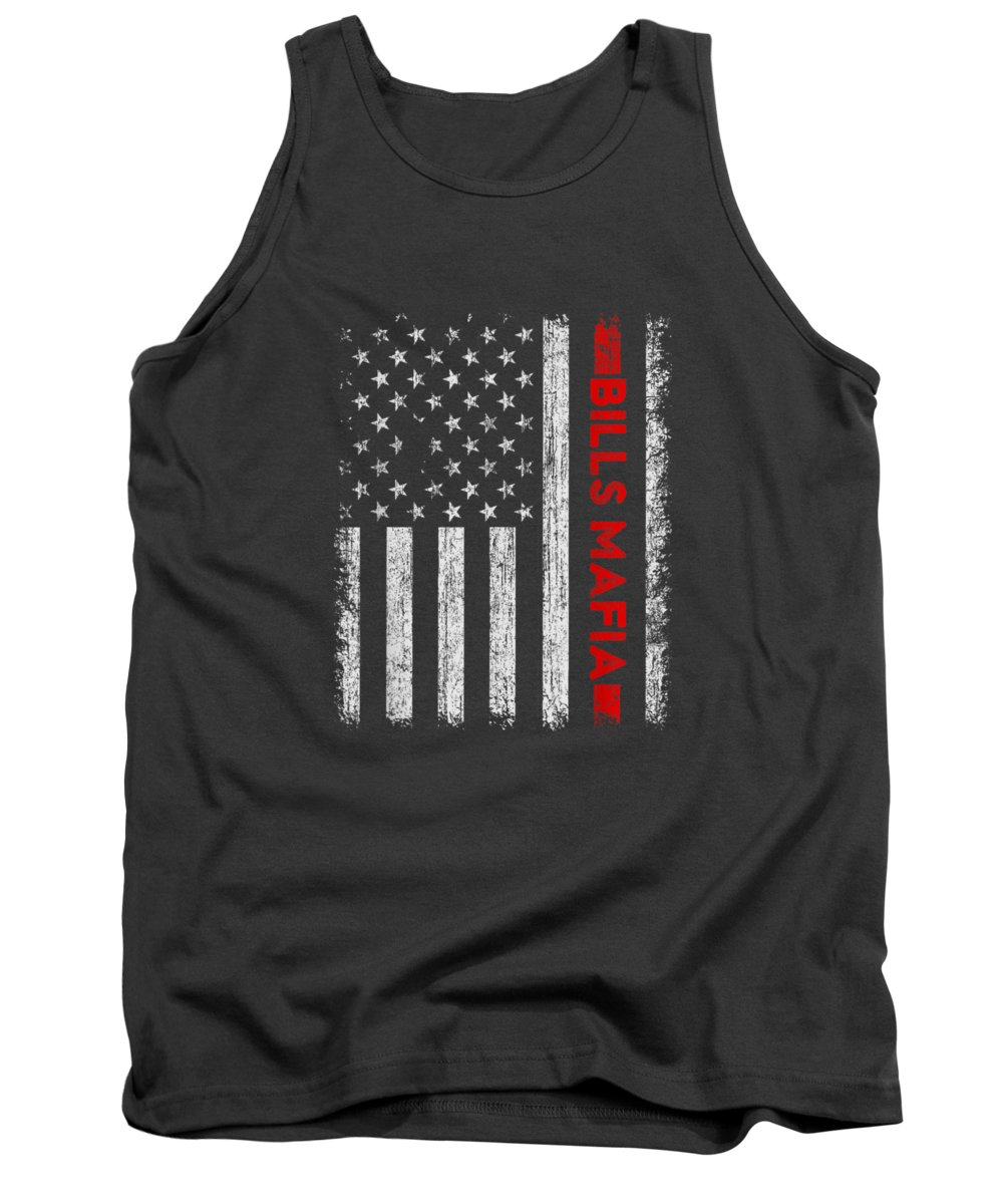 men's Novelty T-shirts Tank Top featuring the digital art American Flag Bills Mafia Patriotic Buffalo 4th Of July Tshirt by Do David