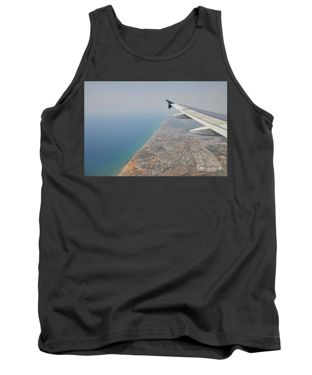 Flying Tank Top featuring the photograph approach to Ben Gurion Airport, Israel w4 by Shay Levy