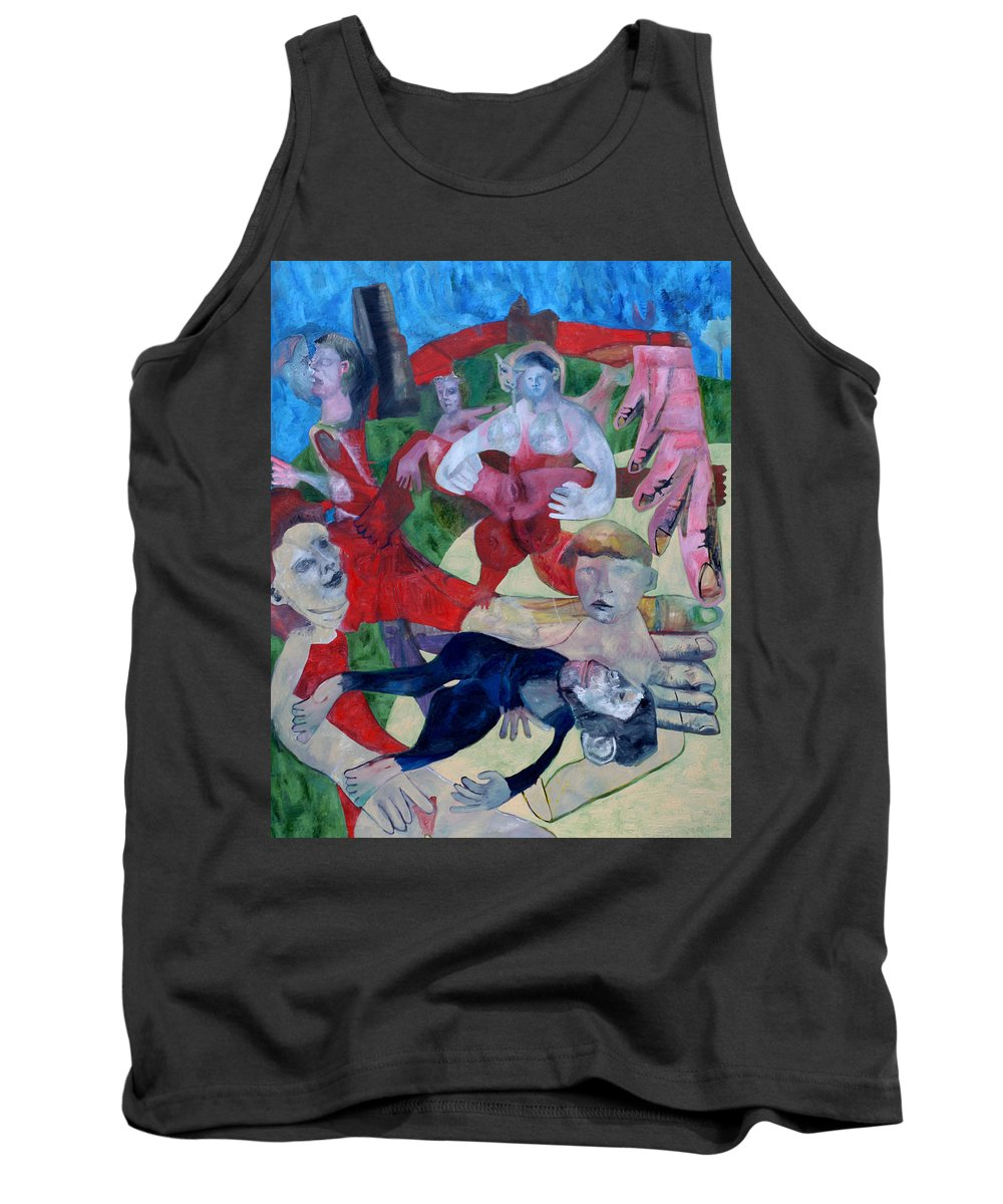 Beach Tank Top featuring the painting Beach Crowd by Edgeworth DotBlog