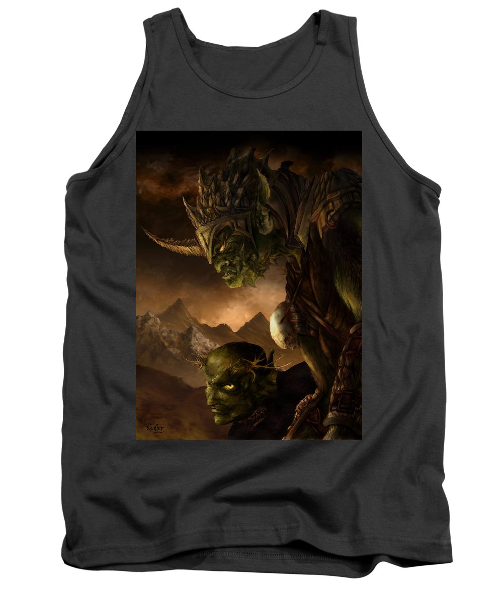 Goblin Tank Top featuring the mixed media Bolg The Goblin King by Curtiss Shaffer