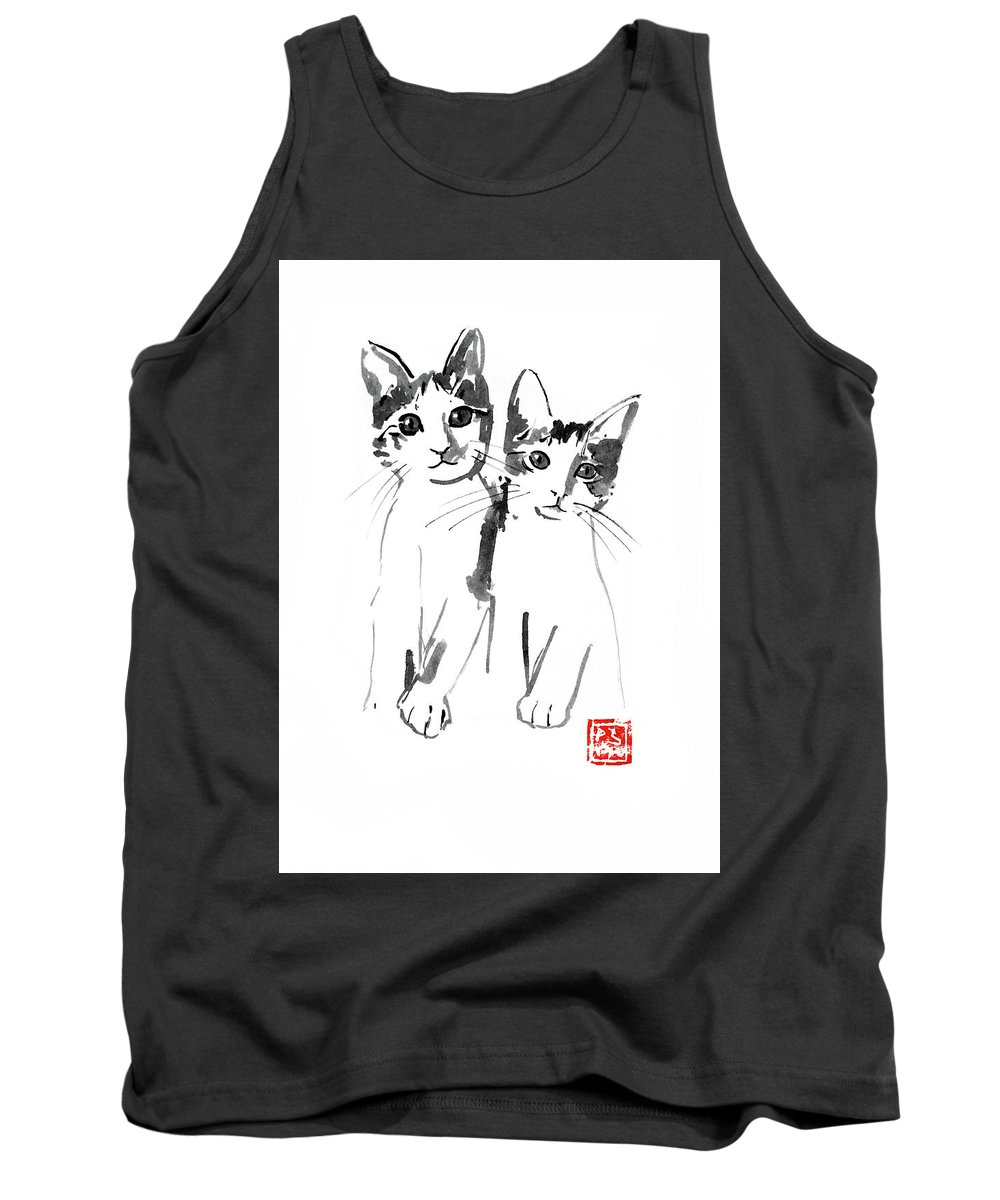 Cat Tank Top featuring the painting Brothers Cats by Pechane Sumie