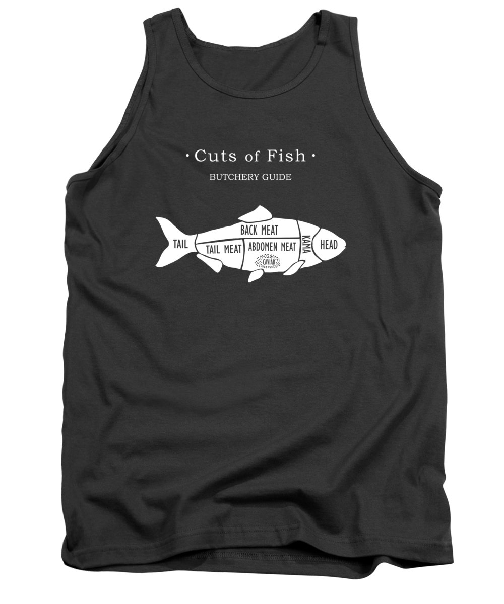 Kitchen Art Tank Top featuring the photograph Butchery Guide Cuts Of Fish by Mark Rogan
