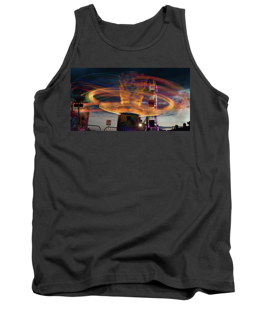 Ride Tank Top featuring the photograph Carnival Rides Motion Blur by Steve Gadomski