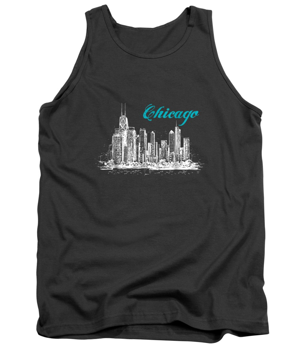 women's Shops Tank Top featuring the digital art City Of Chicago T-shirt by Unique Tees