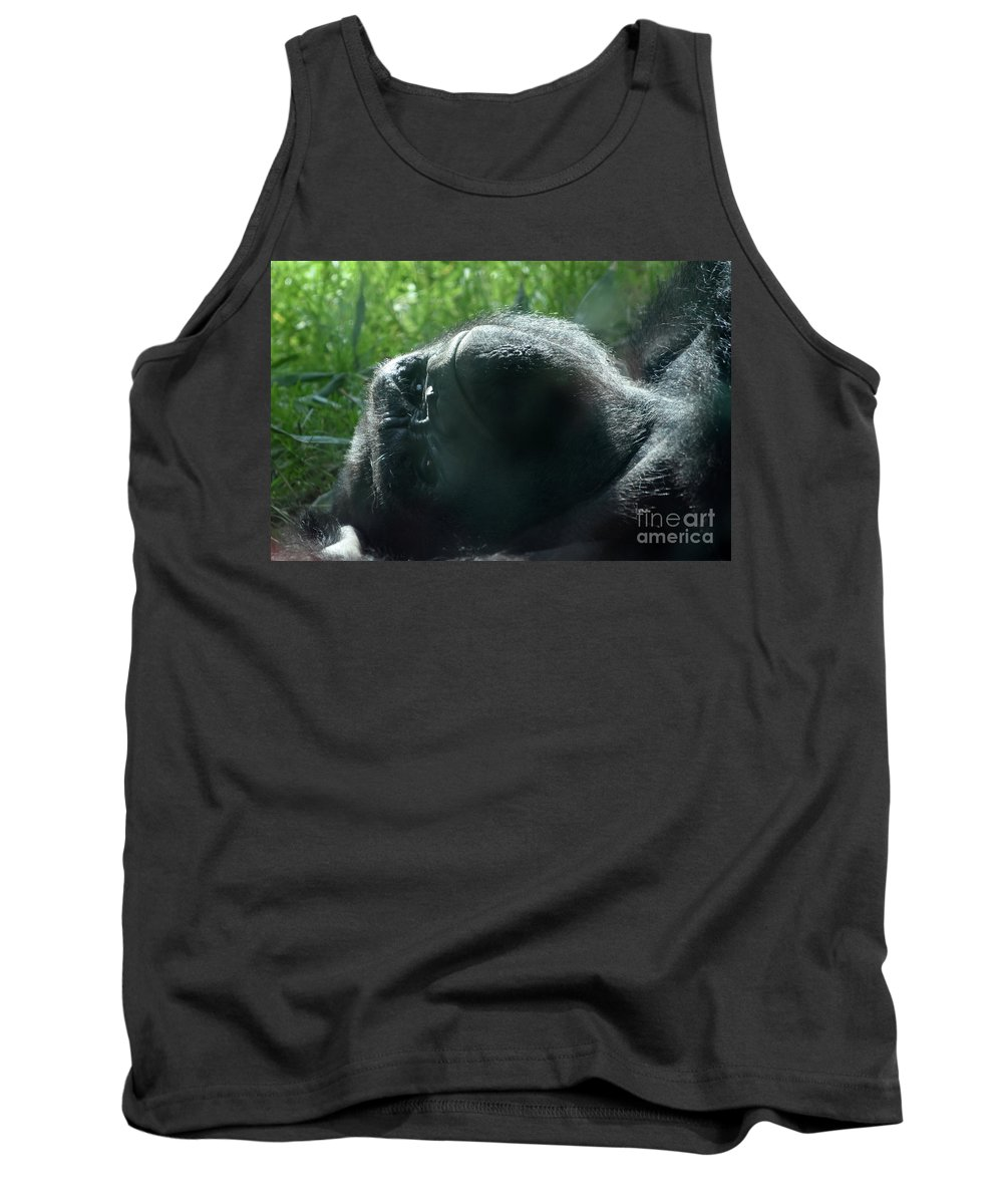 Gorilla Tank Top featuring the photograph Close-up Of Frowning Adult Mountain Gorilla by DejaVu Designs