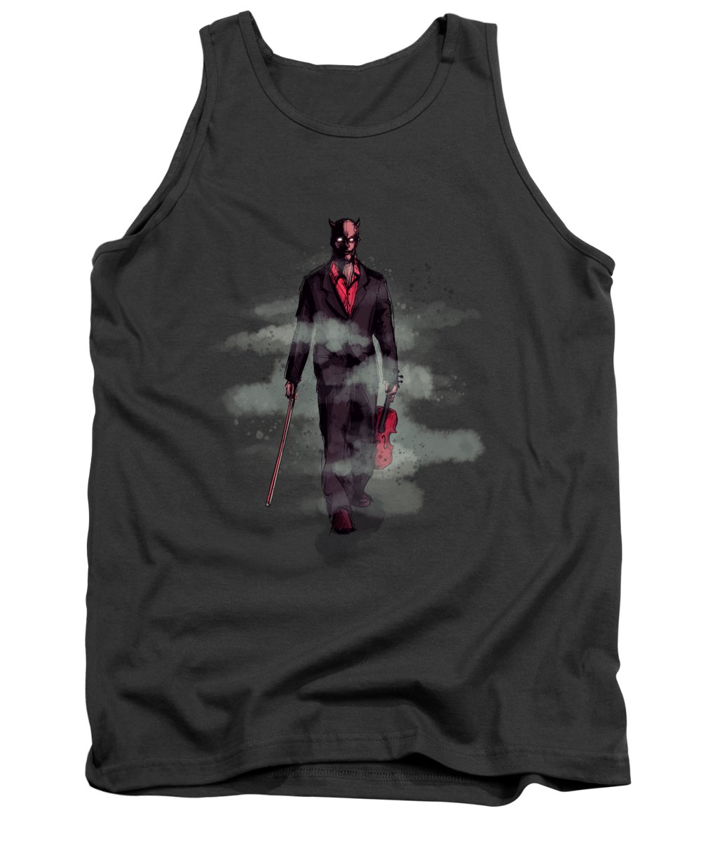 Country Tank Top featuring the drawing Devil Went Down To Georgia by Ludwig Van Bacon