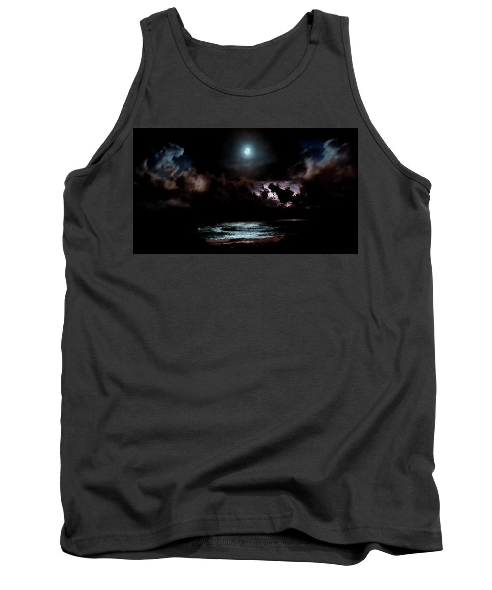 Beach Tank Top featuring the photograph Drummer's Moon by Lowkey Clark