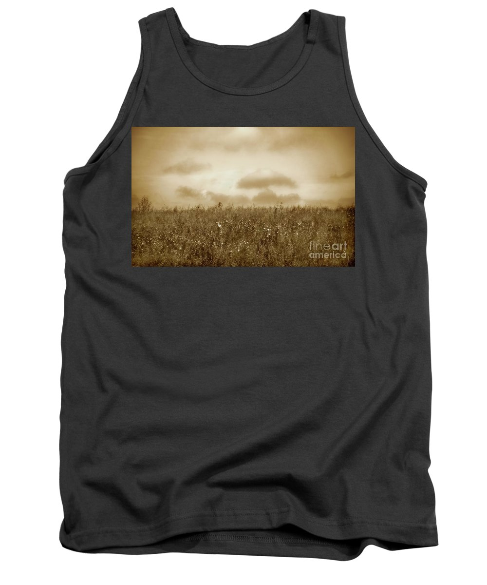 Poland Tank Top featuring the photograph Field in sepia northern Poland by Michael Ziegler