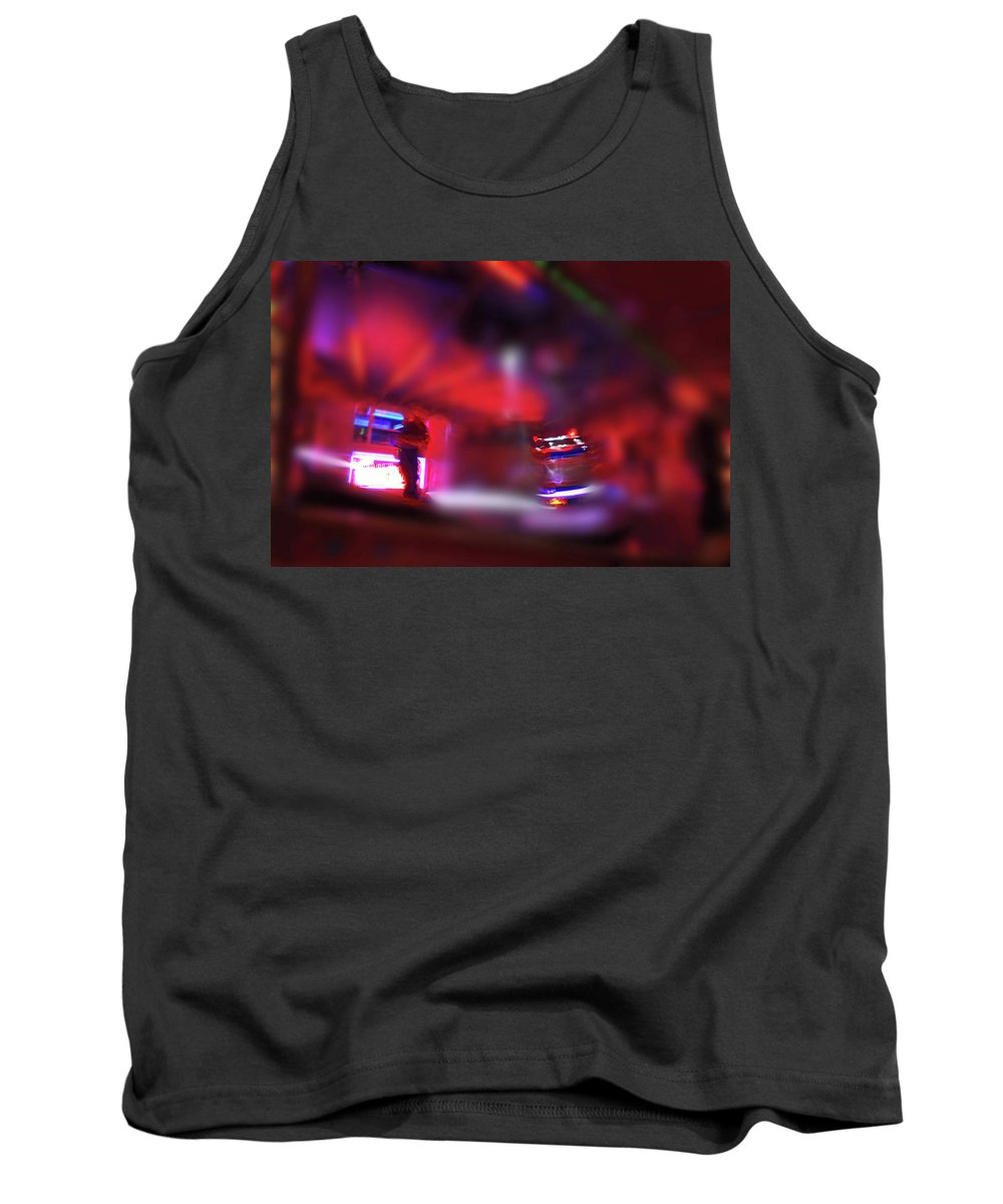 Red Tank Top featuring the painting Fire Ride by Charles Stuart