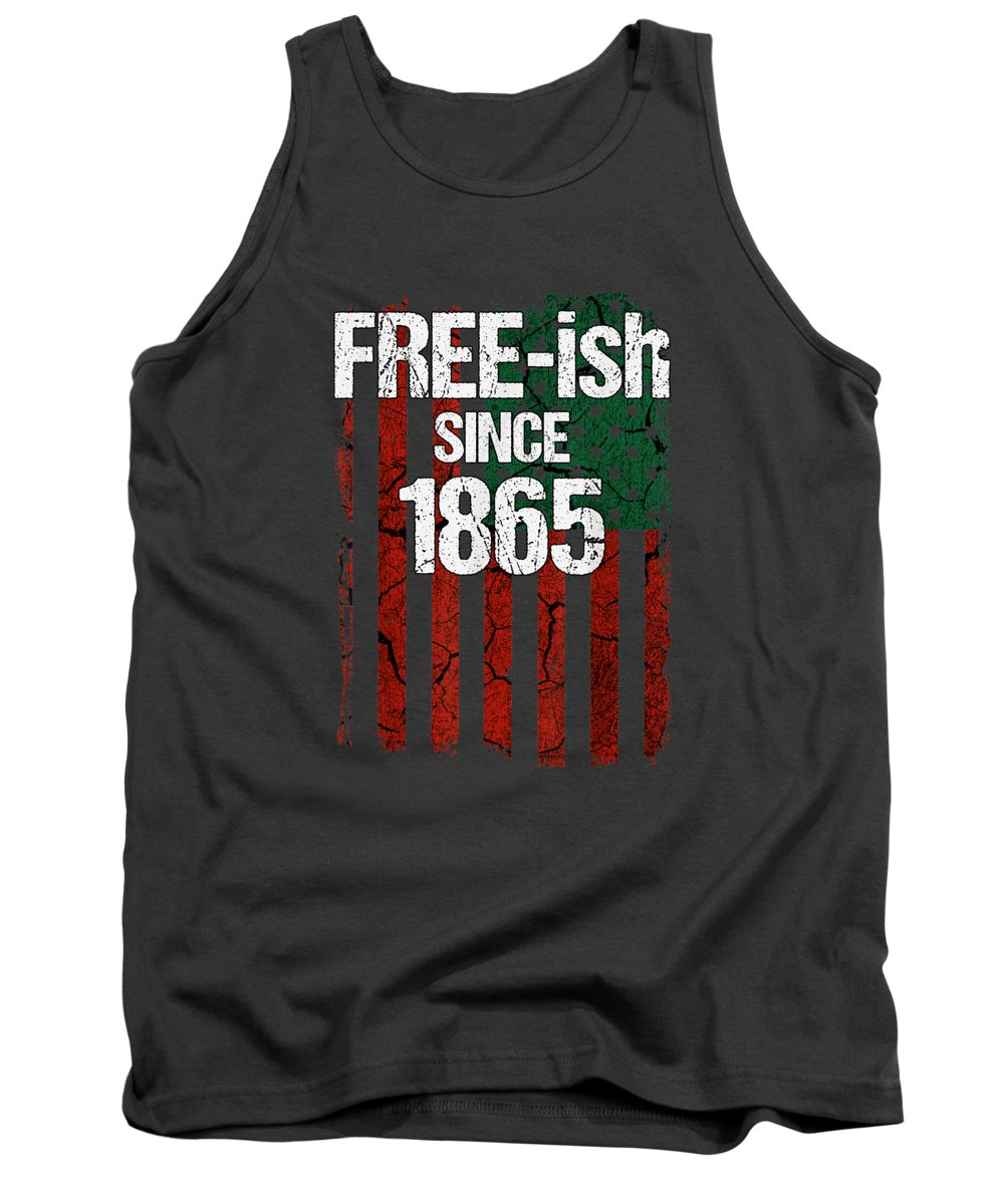 girls' Novelty T-shirts Tank Top featuring the digital art Free-ish Since 1865 Juneteenth Day Flag Black Pride Tshirt by Unique Tees