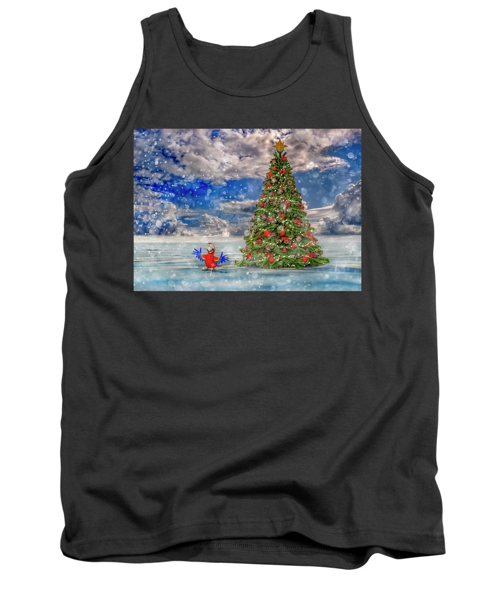 Parrot Tank Top featuring the digital art Happy Christmas Parrot by Betsy Knapp