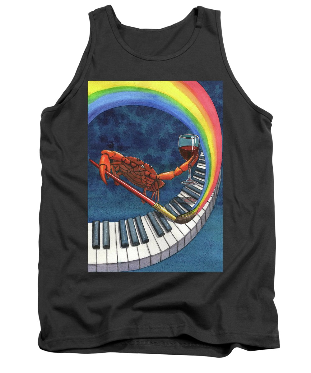 Crab Tank Top featuring the painting Happy Crab by Catherine G McElroy