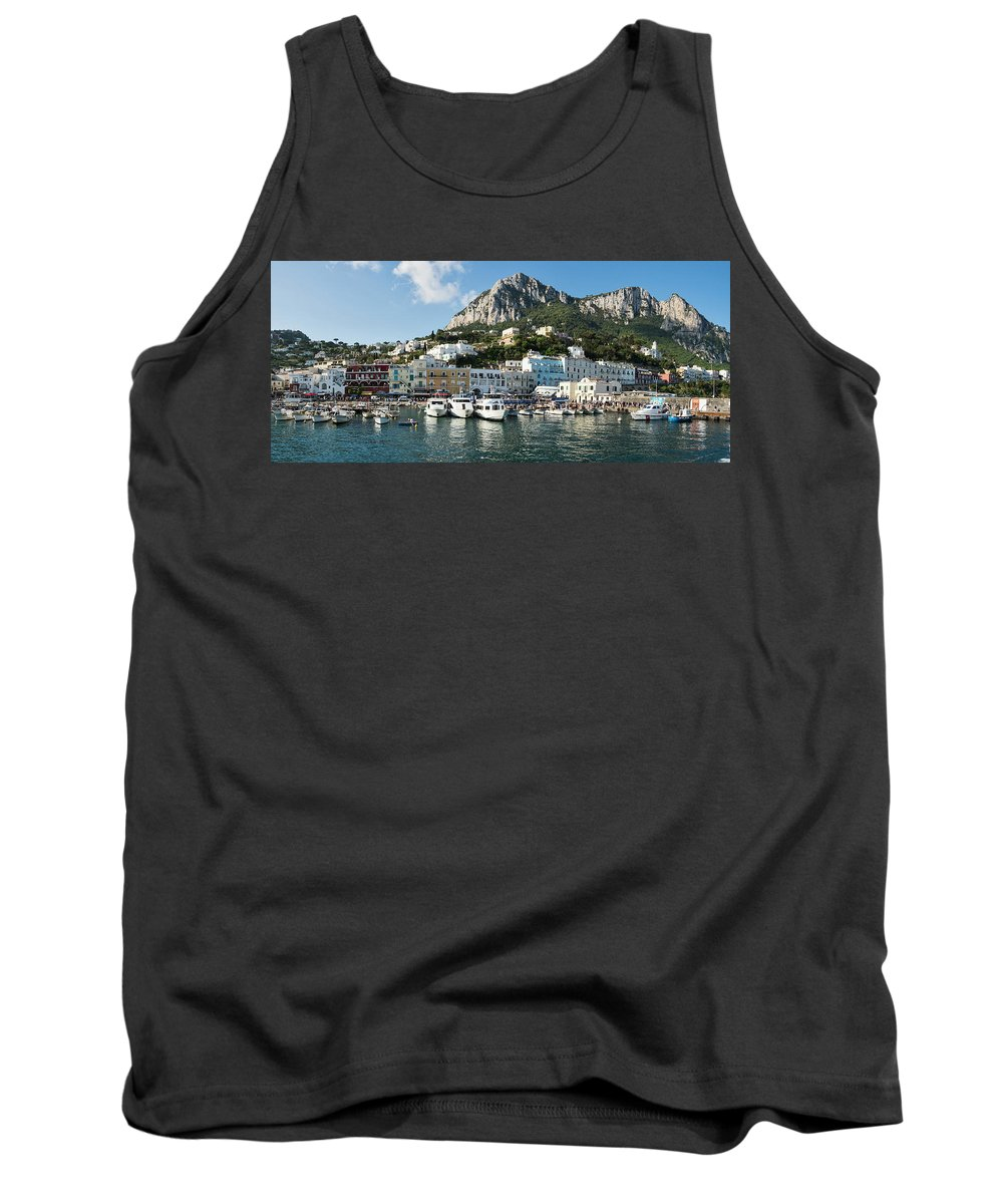Photography Tank Top featuring the photograph Harbor With Mountains by Panoramic Images