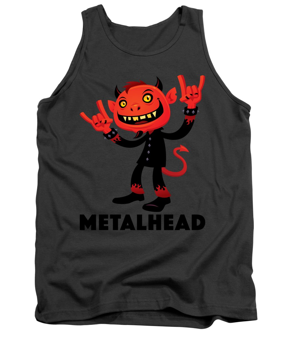 Band Tank Top featuring the digital art Heavy Metal Devil Metalhead by John Schwegel