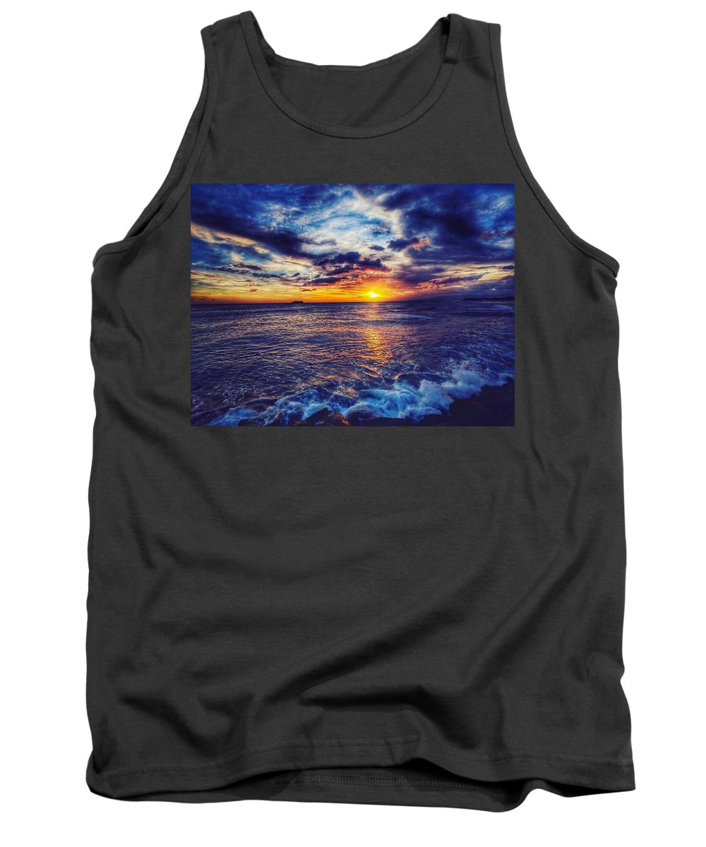 Sunset Tank Top featuring the photograph Honolulu Sunset by Edward Taguba