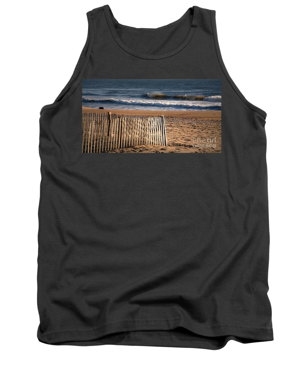 East Coast Tank Top featuring the photograph Landscape Jersey Shore Ocean Fence by Chuck Kuhn