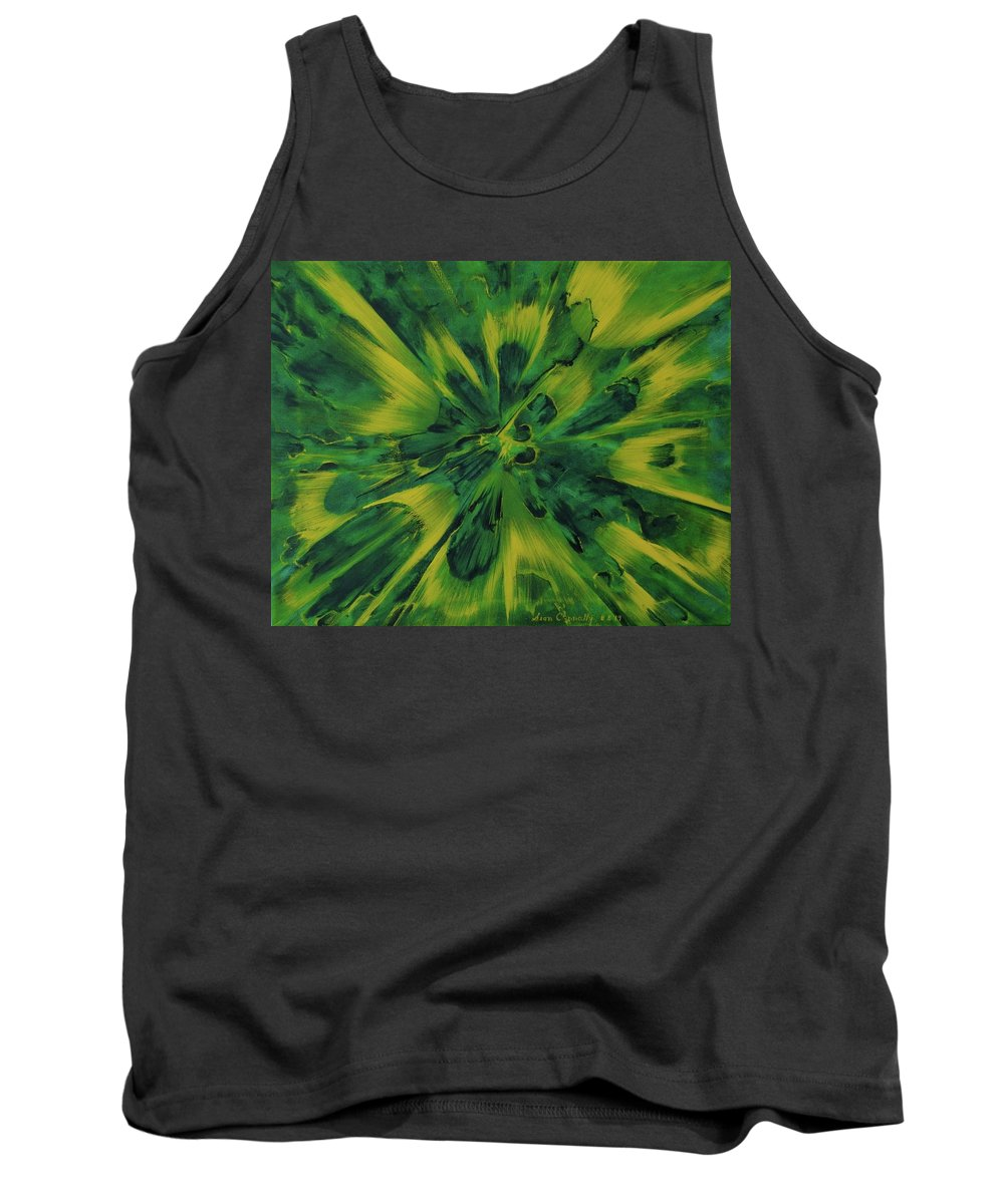 Center Tank Top featuring the painting Lemon And Lime Ejecta by Sean Connolly