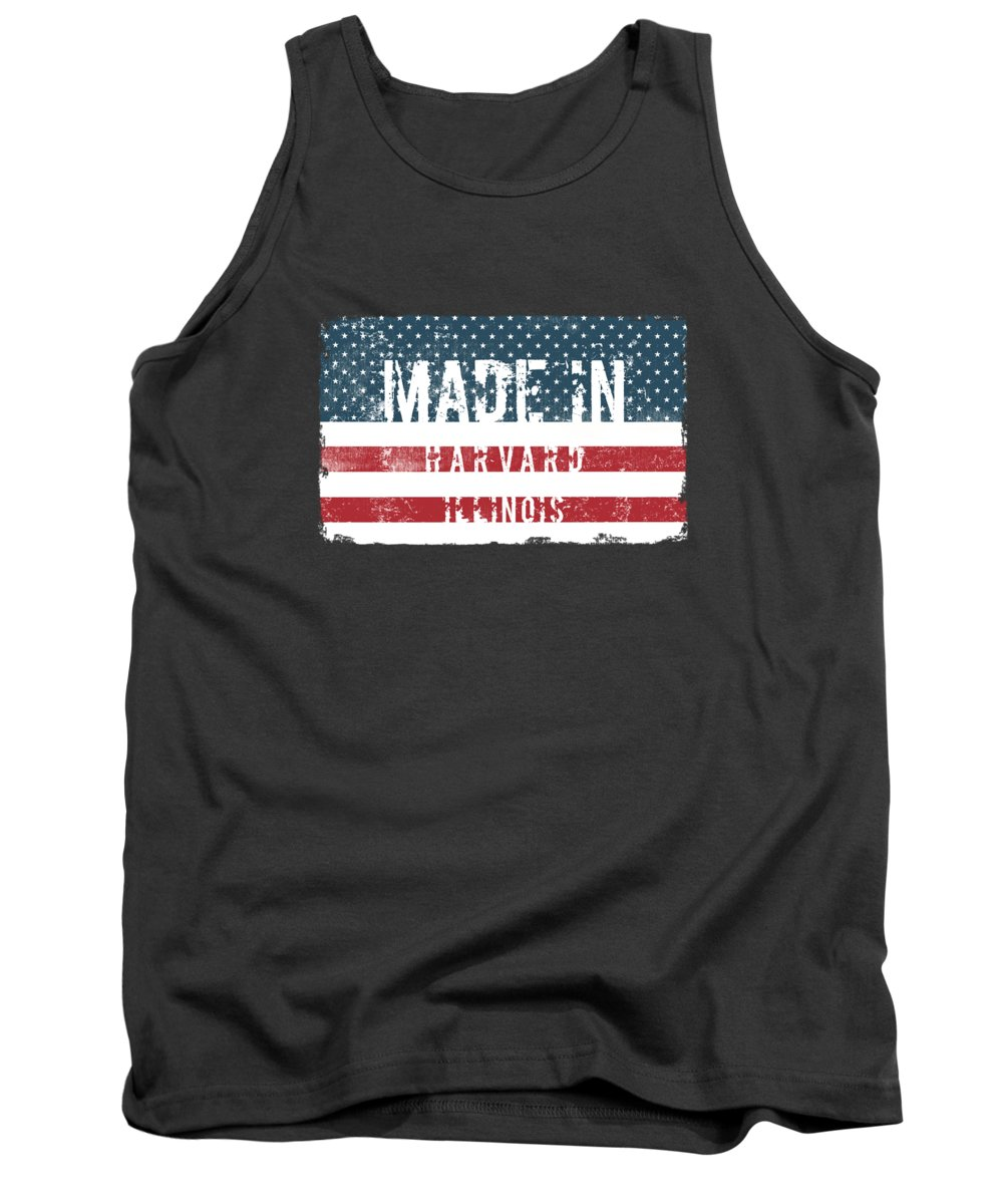 Harvard Tank Top featuring the digital art Made In Harvard, Illinois by Tinto Designs