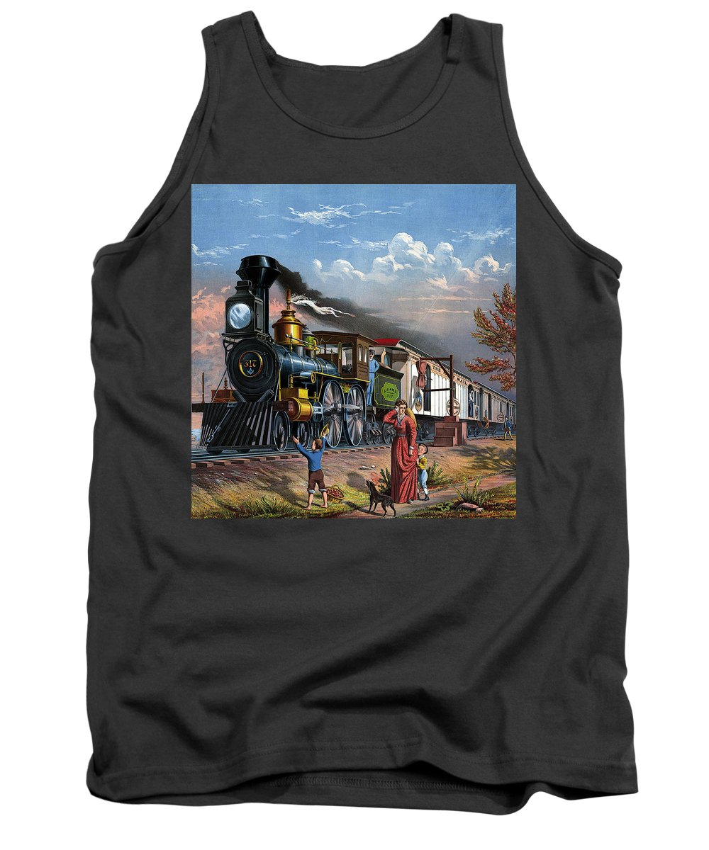 Mail Train Tank Top featuring the painting Mail Train Locomotive 19th Century, Mother With Children And Doggie by Zal Latzkovich