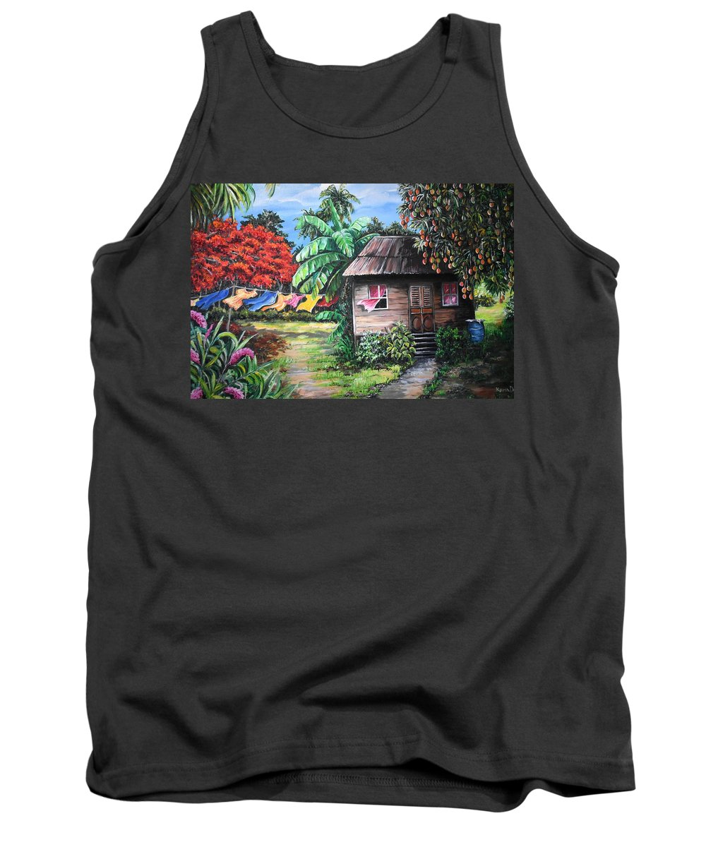 Old House Tank Top featuring the painting Mango Season by Karin Dawn Kelshall- Best