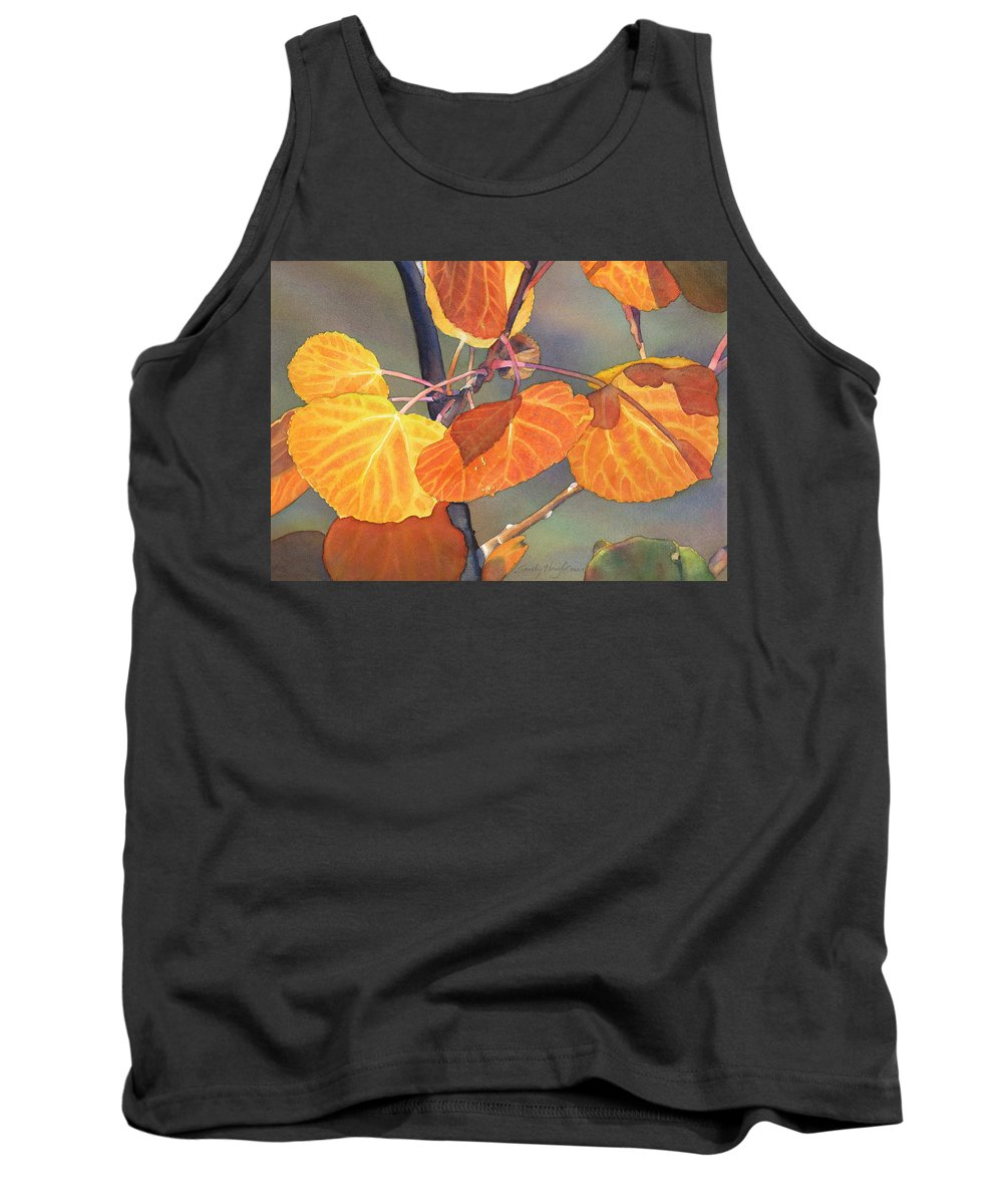 Leaves Tank Top featuring the painting Mountain Gold by Sandy Haight